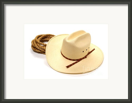 Cowboy Hat And Rope Framed Print By Olivier Le Queinec