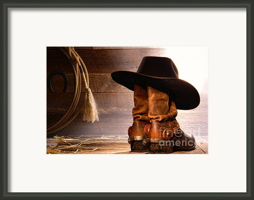 Cowboy Hat On Boots Framed Print By Olivier Le Queinec