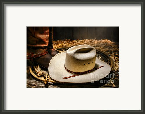 Cowboy Hat On Lasso Framed Print By Olivier Le Queinec