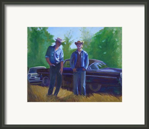 Cowboys Cars And Heaters Framed Print By The Vintage Painter