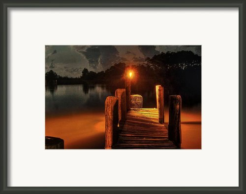Crab Pot At The End Of The Dock Framed Print By Michael Thomas