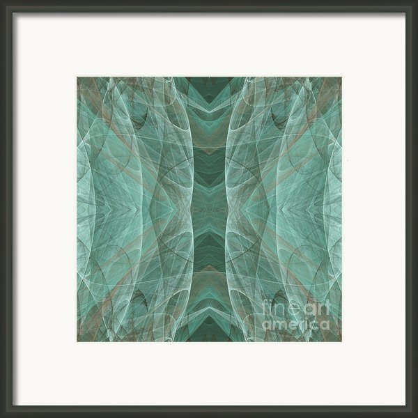 Crashing Waves Of Green 4 - Square - Abstract - Fractal Art Framed Print By Andee Photography