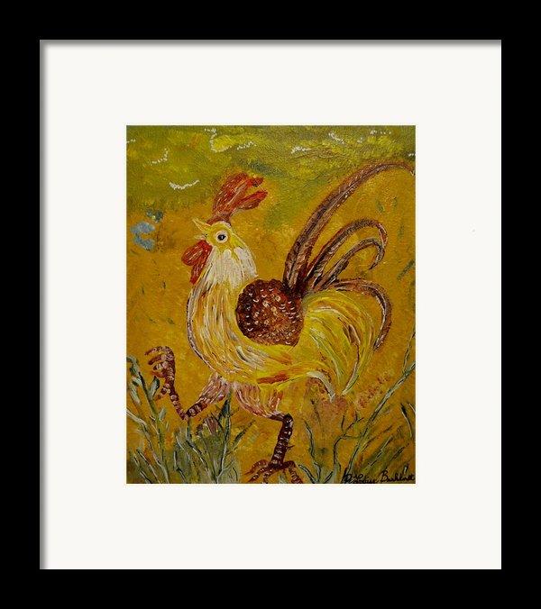 Crazy Chicken Framed Print By Louise Burkhardt
