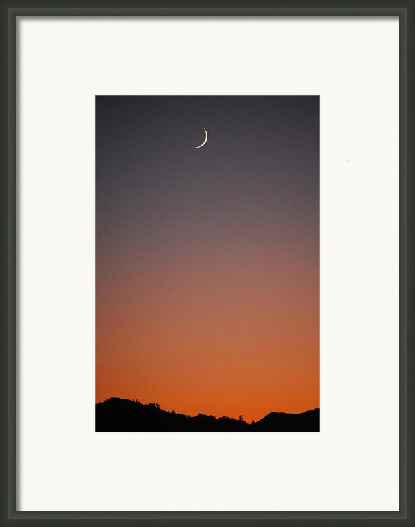Crescent Moon At Sunset Framed Print By Becky Furgason