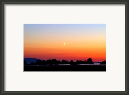 Crescent Moon At Sunset  - Lummi Bay Framed Print By Douglas Taylor