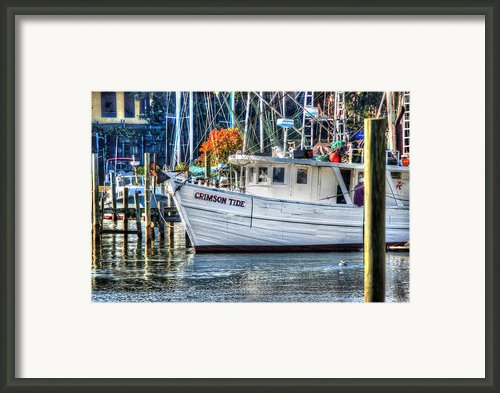 Crimson Tide In Harbor Framed Print By Michael Thomas