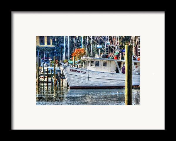 Crimson Tide In Harbor Framed Print By Michael Thomas