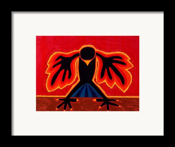 Crow Rising Original Painting Framed Print By Sol Luckman