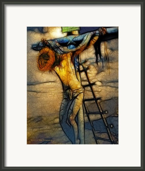 Crucifixion - Stained Glass Framed Print By Ray Downing