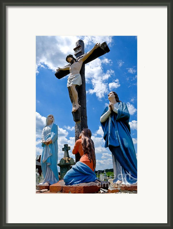 Cruficix Statue At St Alphonsus Church Wexford  Framed Print By Amy Cicconi