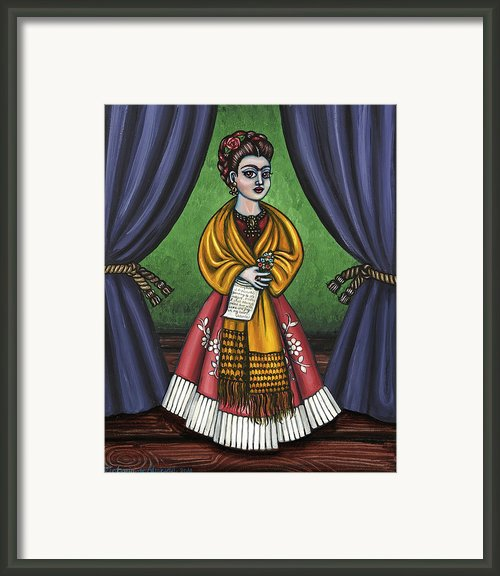 Curtains For Frida Framed Print By Victoria De Almeida