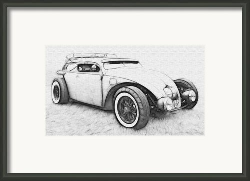Custom Vw Bug Sketch Framed Print By Steve Mckinzie