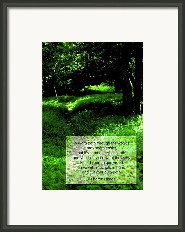 Cut Your Own Path Framed Print By Mike Flynn