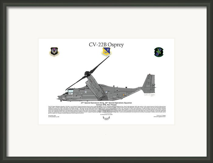 Cv-22b Osprey 20th Sos Framed Print By Arthur Eggers