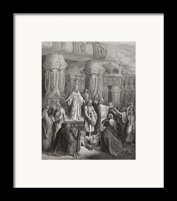 Cyrus Restoring The Vessels Of The Temple Framed Print By Gustave Dore
