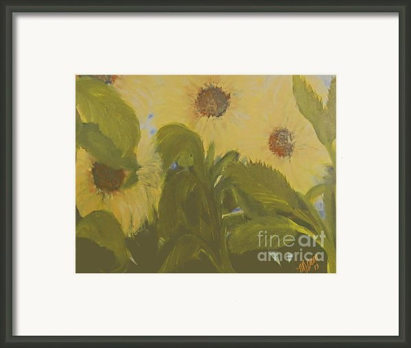 Dancing Sunflowers Framed Print By Mj Deen