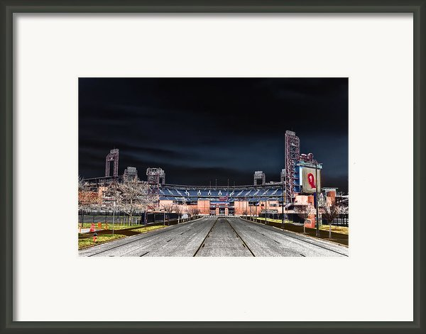 Dark Skies At Citizens Bank Park Framed Print By Bill Cannon