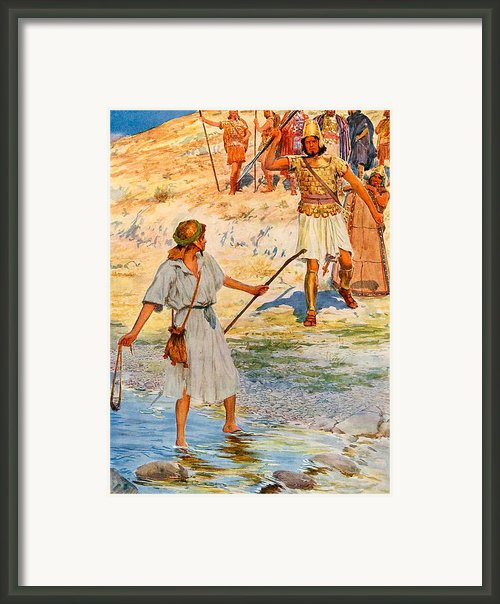 David And Goliath Framed Print By William Henry Margetson