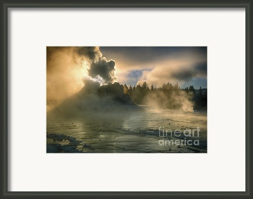 Dawn On Castle Geyser Framed Print By Sandra Bronstein