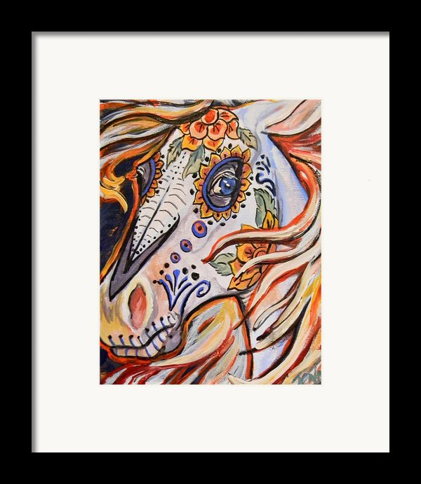 Day Of The Dead Horse Framed Print By Jenn Cunningham