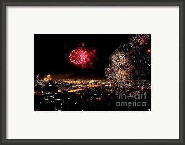 Dazzling Fireworks Iii Framed Print By Ray Warren