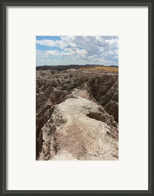 Dead End Trail In Badland National Park South Dakota Framed Print By Adam Long