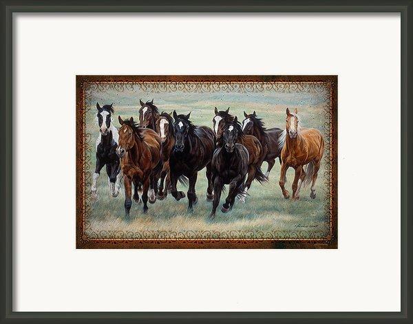 Deco Horses Framed Print By Jq Licensing