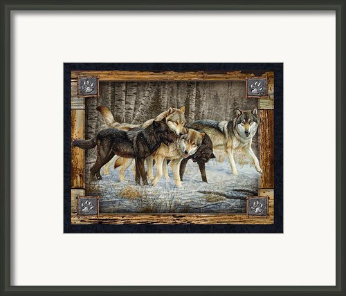 Deco Wolves Framed Print By Jq Licensing