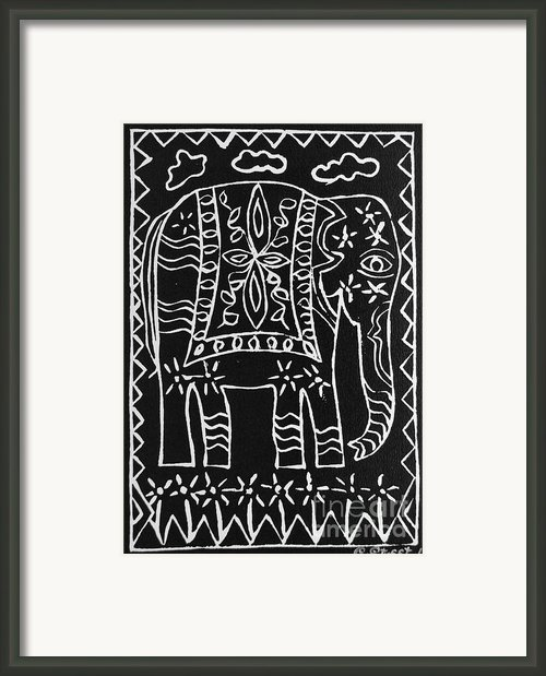 Decorated Elephant Framed Print By Caroline Street