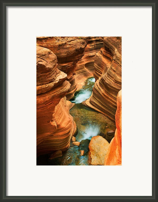 Deer Creek Slot Framed Print By Inge Johnsson