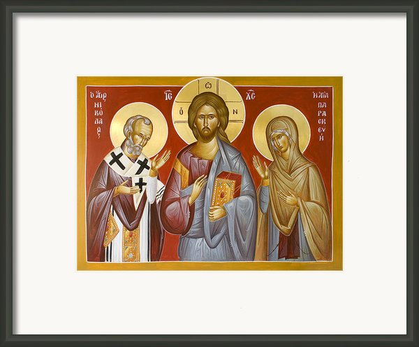 Deisis Jesus Christ St Nicholas And St Paraskevi Framed Print By Julia Bridget Hayes