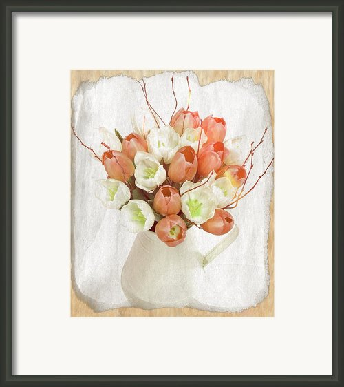 Deluxe Peach Tulips Framed Print By Debra  Miller