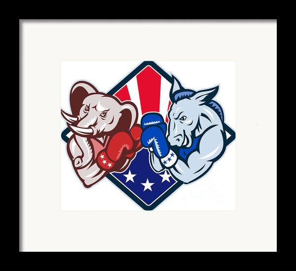 Democrat Donkey Republican Elephant Mascot Boxing Framed Print By Aloysius Patrimonio