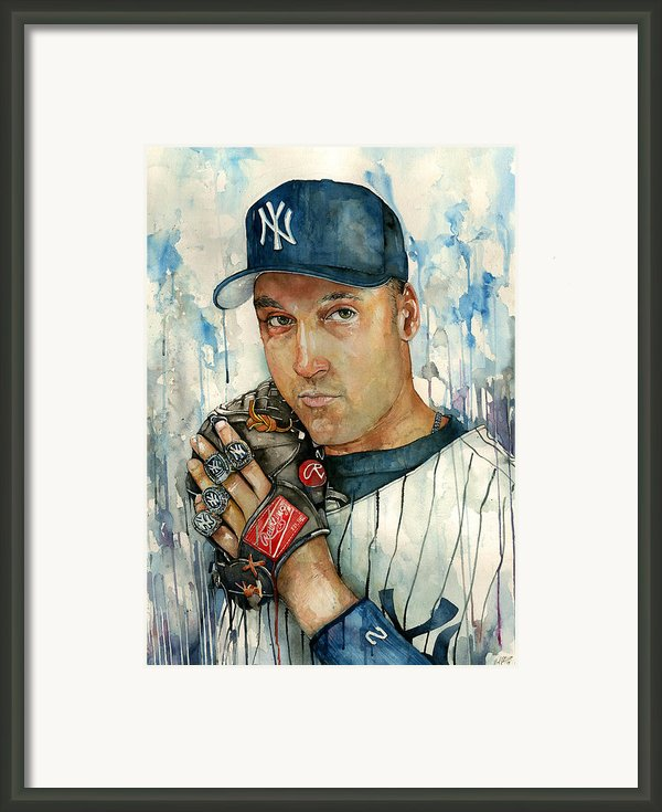 Derek Jeter Framed Print By Michael  Pattison