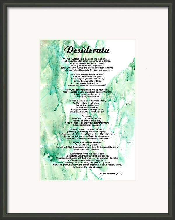 Desiderata - Words Of Wisdom Framed Print By Sharon Cummings