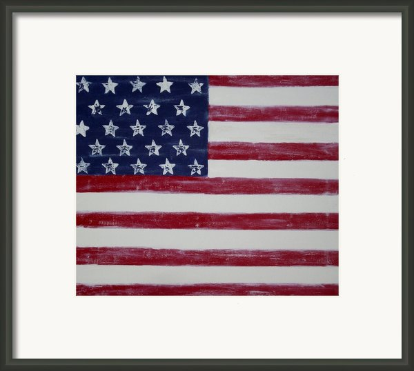 Distressed American Flag Framed Print By Holly Anderson