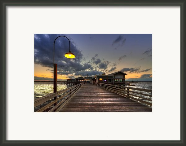 Dock Lights At Jekyll Island Framed Print By Debra And Dave Vanderlaan
