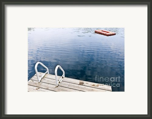Dock On Calm Summer Lake Framed Print By Elena Elisseeva
