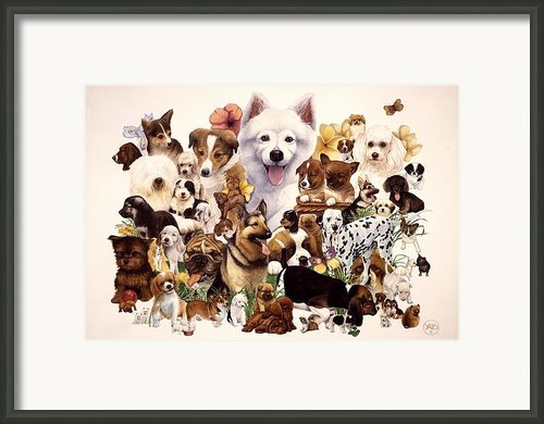Dog And Puppies Framed Print By John Yato