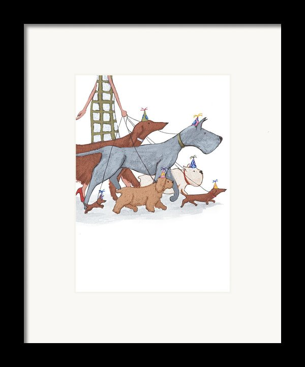 Dog Walker Framed Print By Christy Beckwith