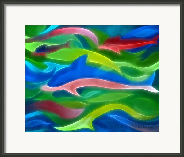 Dolphins Framed Print By Ann Croon