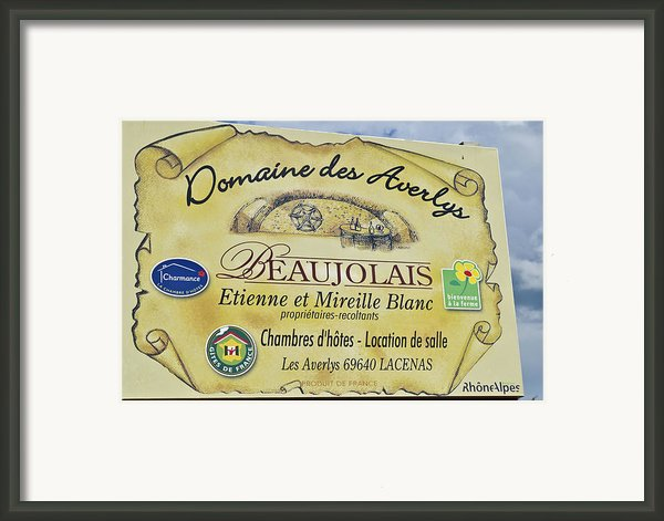 Domaine Des Averlys Framed Print By Allen Sheffield
