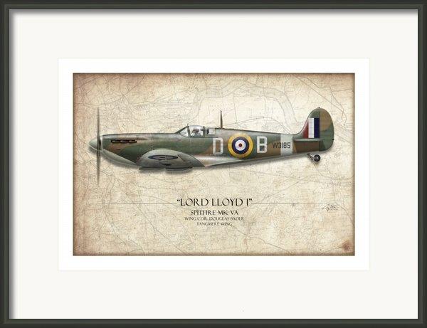 Douglas Bader Spitfire - Map Background Framed Print By Craig Tinder