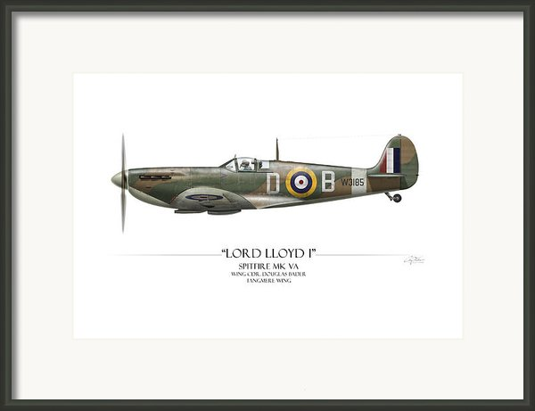 Douglas Bader Spitfire - White Background Framed Print By Craig Tinder