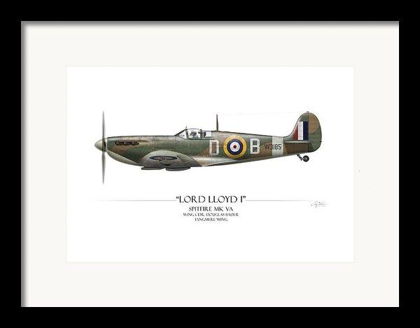 Douglas Bader Spitfire - White Background Framed Print By Craig Tinder