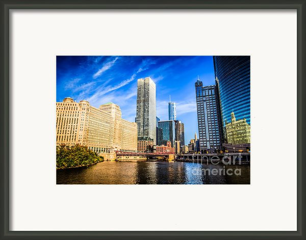 Downtown Chicago At Franklin Street Bridge Picture Framed Print By Paul Velgos