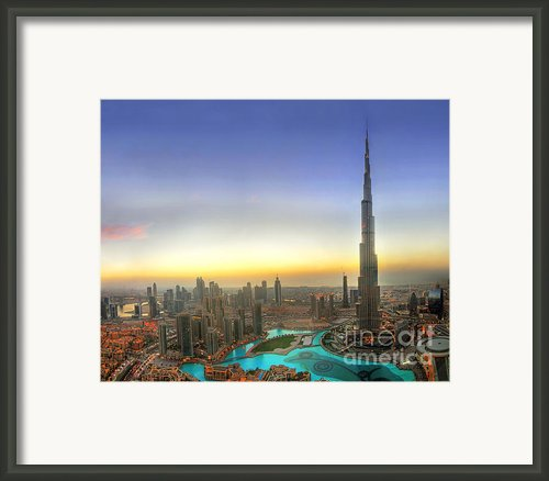 Downtown Dubai At Sunset Framed Print By Lars Ruecker