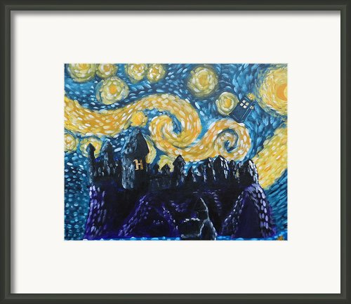 Dr Who Hogwarts Starry Night Framed Print By Jera Sky