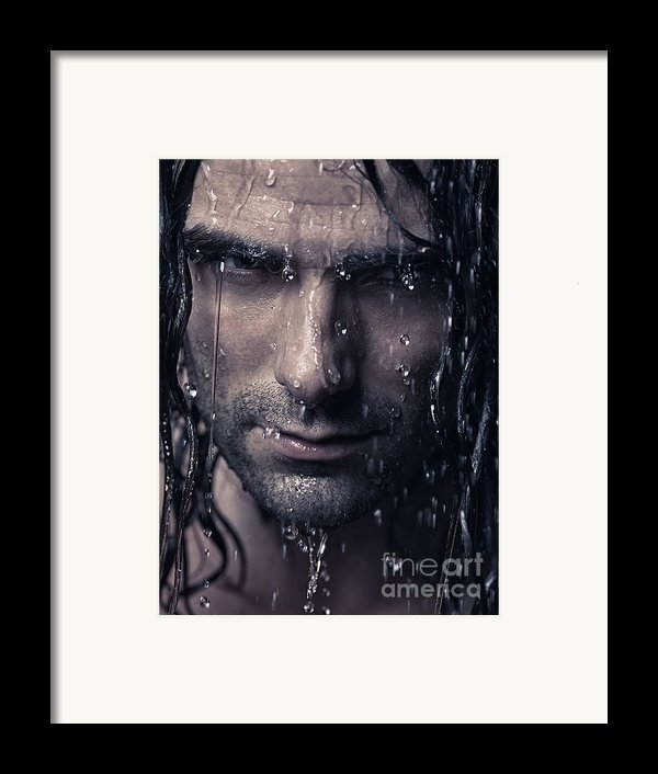 Dramatic Portrait Of Man Wet Face With Long Hair Framed Print By Oleksiy Maksymenko