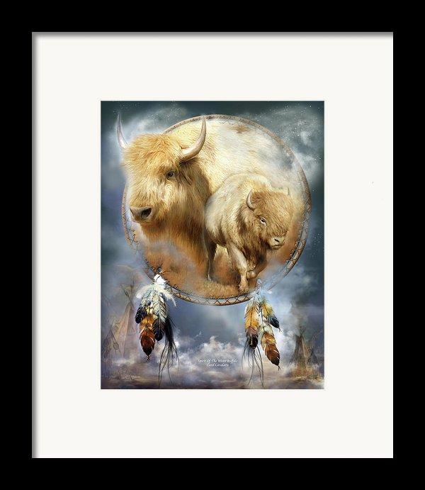 Dream Catcher - Spirit Of The White Buffalo Framed Print By Carol Cavalaris
